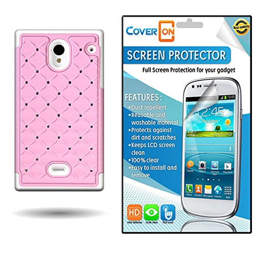 CoverON® Protective Diamond Rhinestone Case Hybrid Light Pink + White Bling Cover Screen Protector Bundle for Sharp Aquos Crystal (Cute Sharp Aquos Crystal Case compare prices)