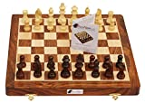 "SouvNear Chess Set - 14x14"" Folding Standard Magnetic Travel Chess Board Game Handmade in Fine Rosewood with Storage for Chessmen"