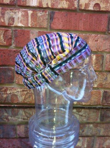 Inspirit Arts Large Burgundy With Earthtone Stripes Headband Expandable Handwoven Open Net Weave Lightweight Bandana Headwrap Elastic 100% Cotton Hair Scarf front-462851