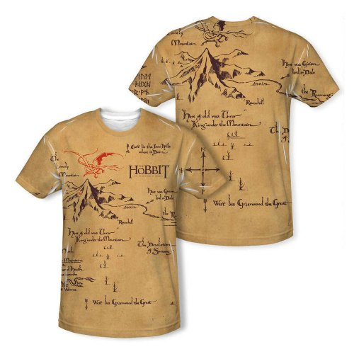 Warner Bros. Unisex-Adult The Hobbit Thorin' Map Allover Print T-Shirt
