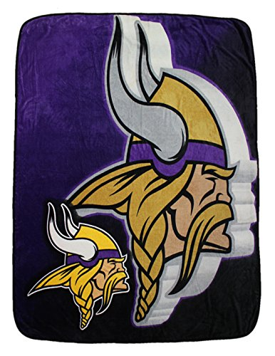 Nfl Minnesota Vikings Large Plush Blanket / Fleece Couch Throw One Size Multicolor front-943495