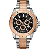 Gc Sport Class Round Black Dial Rose Gold Steel Case Men's Classic Watch