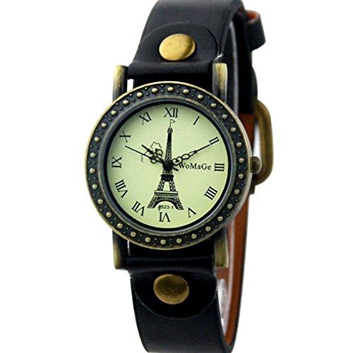 Dayan Eiffel Tower Surface Fashion Woman Watch Quartz Leather Strap Bracelet Watch Wristwatches Black