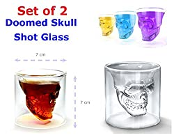 Set of 2 Doomed Skull Shot Glass Use Upside Down with Whiskey Vodka Party Gift (2.5 Ounce Oz Capacity)