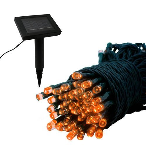 Orange Outdoor Solar Lights String - 100 Led Lights - 32.75 Ft