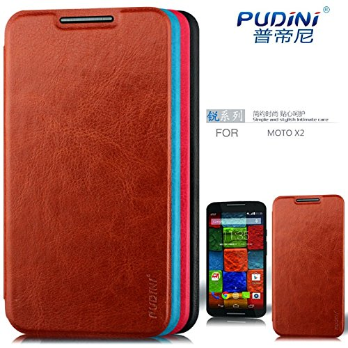 Pudini® Original Luxury Vintage Leather Flip Case Cover for Motorola Moto X 2nd Gen (2014) / Moto X+1 / Moto X2 - Brown