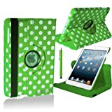 Stuff4 Polka Dot Designed Leather Smart Case with 360 Degree Rotating Swivel Action and Free Screen Protector/Stylus Touch Pen for Apple iPad 2/3/4 - Green/White