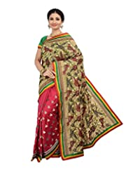 Ambitions Fashion Women's Beige And Red Raw Silk Lace Saree