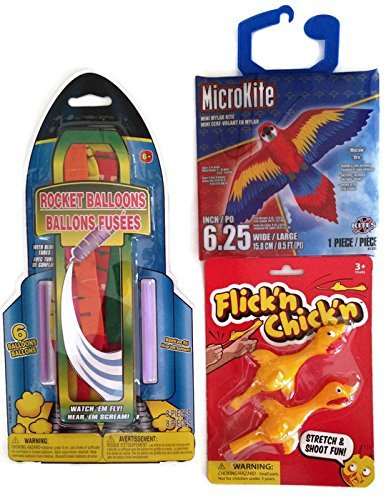 Colorful-Parrot-Macaw-Rocket-Balloons-Flickn-Chickn-Flying-Outdoor-Activity-Bundle-Three-Items-One-Micro-Parrot-Macaw-Kite-One-Rocket-Balloon-Kit-One-Set-of-Rubber-Flickn-Chickn