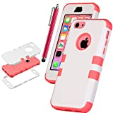 Pandamimi UlAK(TM) Colorful Heavy Duty Hybrid Rugged Hard Case Cover For Apple iPhone 5C with Screen Protector and Stylus (White + Water Red)