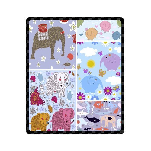 "Colorful Cartoon Elephant Babies Seamless Pattern Custom Blanket 50""X 60""(Medium) front-781734"