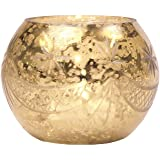 Luna Bazaar Candle Holder (3-Inch, Globe Design Design, Gold Mercury Glass) - For Home Decor and Wedding Decorations - For Use with Tea Light Candles