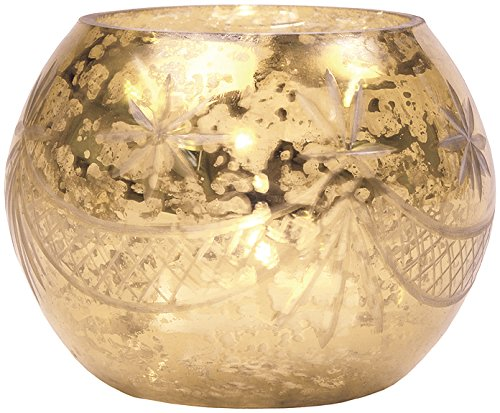 Gold or Silver Mercury Glass Globe Design Candle Holder by Luna Bazaar Cultural Intrigue