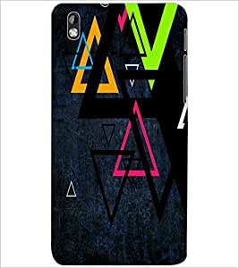 PrintDhaba TRIANGLE PATTERN D-6431 Back Case Cover for HTC DESIRE 816 (Multi-Coloured)