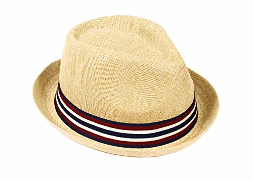 AshopZ Unisex Summer Outdoors Short Brim Straw Fedora Hat,Tan SM