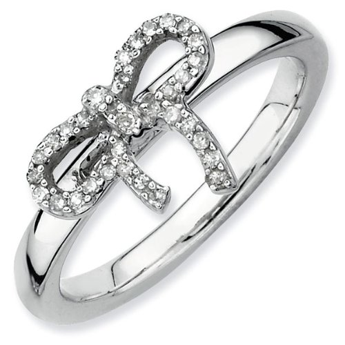 Diamond Bow Stackable Ring 1/10ctw - Size 7