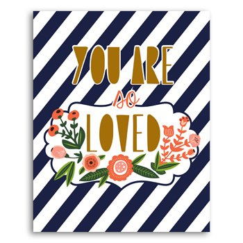 "Lucy Darling So Loved Navy and Flower Print Wall Decor, 8"" x 10"" - 1"
