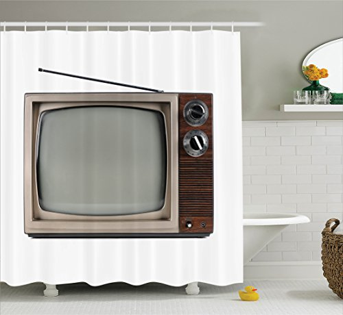 1950s Decor Collection, Old Television with Antenna Broadcast Display Antique Electronics Tv Picture, Polyester Fabric Bathroom Shower Curtain, Brown Beige
