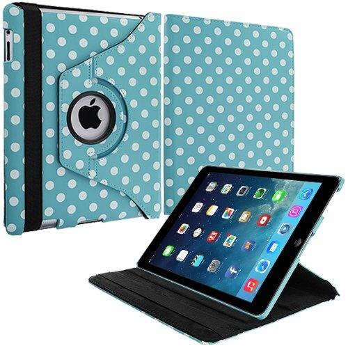Cell Accessories For Less (Tm) Baby Blue White Polka Dot 360 Rotating Leather Pouch Case Cover Stand For Apple Ipad Air - By Thetargetbuys front-923717