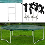 Rebo Universal Trampoline Accessory Pack - Includes Ladder, Cover and Anchor Kit - 8FT, 10FT, 12FT, 14FT & 10 x 7FT Sizes Available