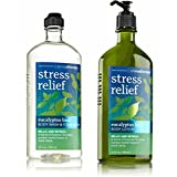 Bath And Body Works Aromatherapy Stress Relief Eucalyptus Basil 10 Oz Body Wash & Foam Bath And 6.5 Oz Body Lotion...