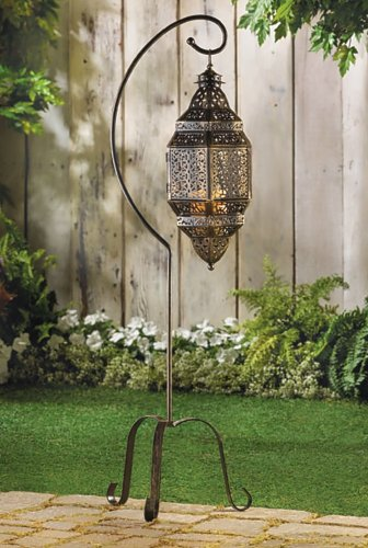 2 LATTICE MOROCCAN FREE STANDING CANDLE LANTERNS WITH STANDS