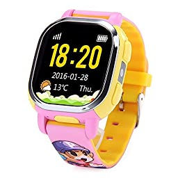 Tencent QQ Watch GPS Tracker Wifi Locating Kids Smart Watch Phone SMS Steps Voice Chat for Children Safe Security SOS Alarm Camera Locating And Image Interaction (Pink)