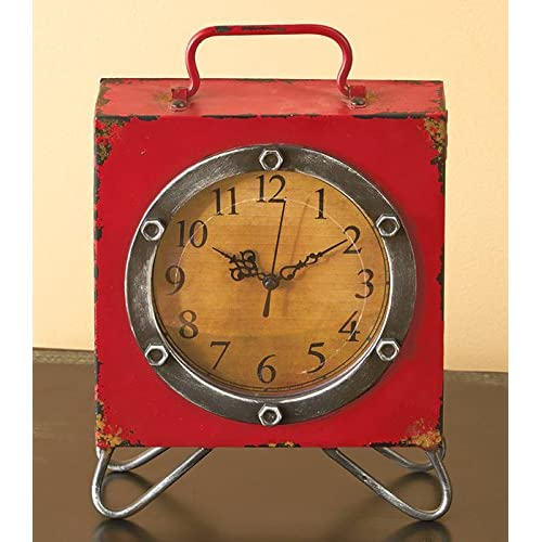 Vintage Square Table Clock with Handle