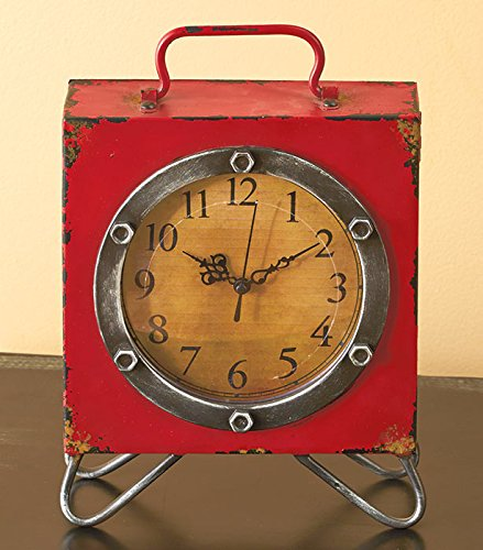 Vintage Square Table Clock with Handle 0