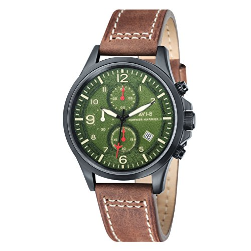 avi-8-mens-hawker-harrier-ii-quartz-watch-with-green-dial-chronograph-display-and-brown-leather-stra