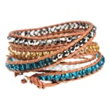 Azura Colorful Beaded Tan Leather Wrap Bracelet Extra Long 39 Inch 5x Wrap