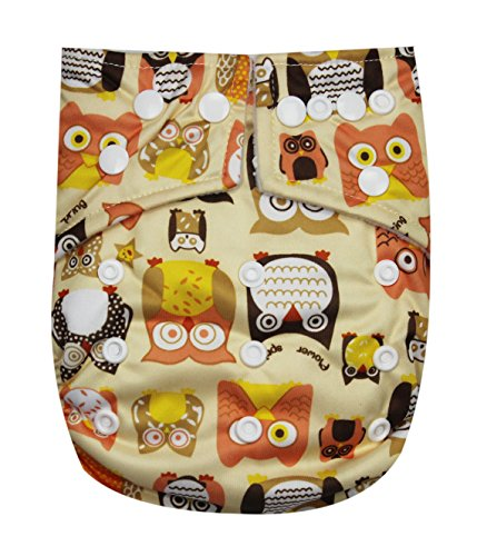See Diapers Pocket Baby Cloth Diaper 2 Microfiber Inserts Adjustable (Owls) - 1