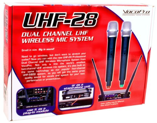Brand New VocoPro UHF-28 Dual Channel UHF Wireless Microphone System with 2 Wireless Microphones