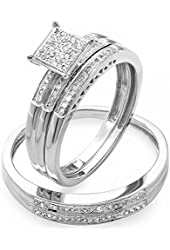 0.30 Carat (ctw) Round White Diamond Men & Women's Micro Pave Engagement Ring Trio Bridal Set