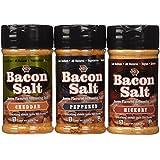 Bacon Salt Sampler 3 Pack - Cheddar, Peppered & Hickory Bacon Flavored Salts Set