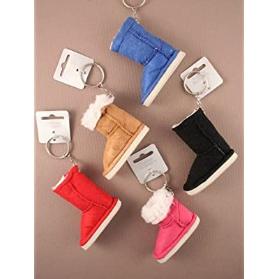 Coloured furry 'UGG style' boot keyring