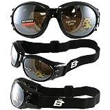 Birdz Eyewear Eagle Motorcycle Goggles (Black Frame/Mirrored Brown Lens)