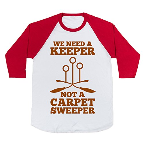Cotton We Need A Keeper Baseball Tee T-Shirt (White/Red, Small)
