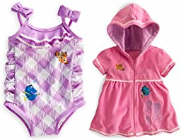 Disney Store Finding Nemo/Dory Swim Set: Swimsuit and Cover Up Toddler Size 2T