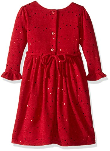 Youngland Big Girls' Sparkle Sweater Knit Dress with Flower Detail, Red, 16