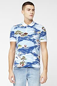 L!VE Short Sleeve Hawaiian Print Pique Polo