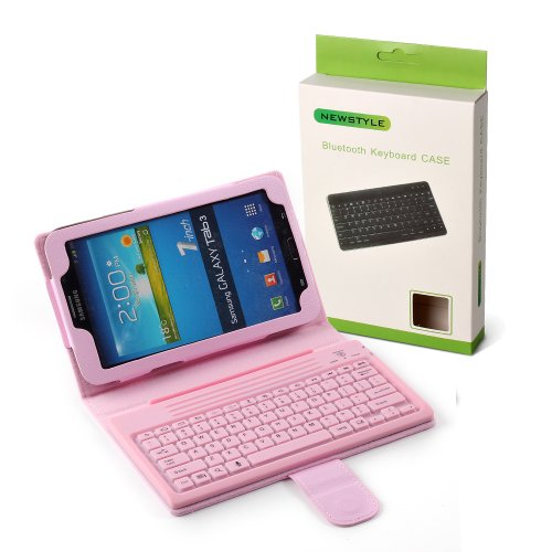 "Newstyle Pink Pu Leather Protective Stand Case Cover Wireless Bluetooth Silicone Keyboard For 7"" Samsung Galaxy Tab 3 A 7.0 Inch 7'' T210 T211 P3200 P3210 front-219945"