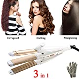 3 in 1 Hair Straightener Curler- Chiulan Professional Ceramic Tourmaline Hair Curling Straightening Iron Crimper Flat Irons Hair Styling Waving Tool with Heat Insulation Gloves