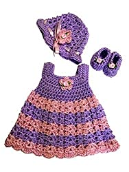 Mic Crafts Baby Girl 3 Piece Set Purple and Pink Striped Preemie