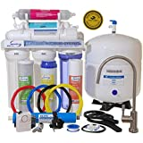 iSpring RCC7AK - WQA GOLD SEAL - 6 Stages 75GPD Reverse Osmosis Water Filter System featuring Alkaline Mineral Stage, Brushed Nickel EU Faucet ($45 value) and Clear See-through 1st Stage