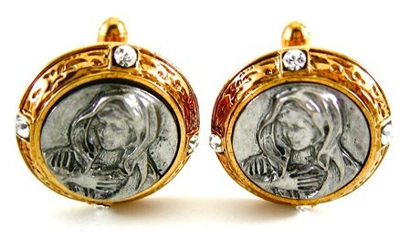 Vatican Collection Gold & Silver Virgin Mary Cufflinks