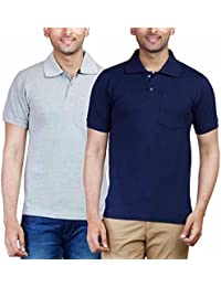 Fleximaa Men's Collar (POLO) T-Shirts With Pocket Combo Pack (Pack Of 2) - Grey Milange & Navy Blue Color. Sizes...