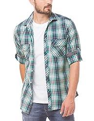 Shuffle Men's Casual Shirt (8907423017139_2021510002_Medium_Green)