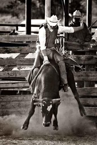 Rodeo Cowboy Bull Riding - Converted with Added Grain - 24