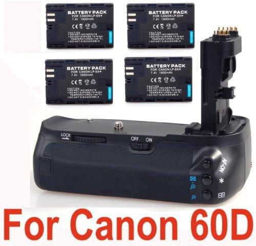 4 LP-E6 Batteries + Canon EOS 60D Compatible Professional Battery Pack BG-E9